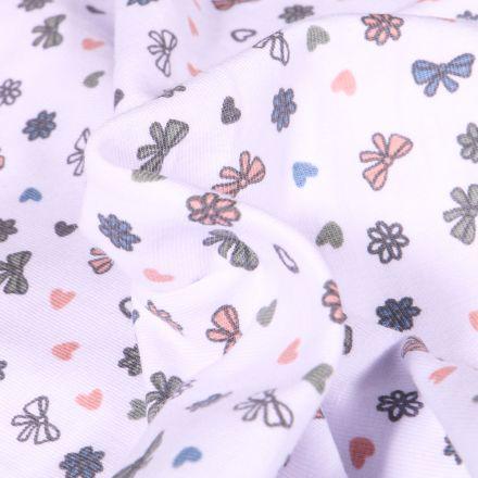 Tissu Jersey Coton Petits nœuds et cœurs sur fond Blanc