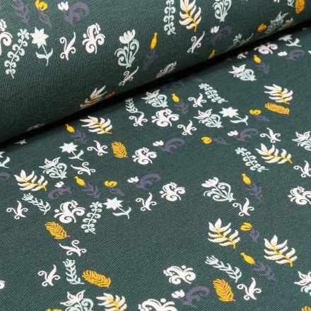 Tissu Jersey Coton Petites fleurs et feuilles sur fond Vert foncé