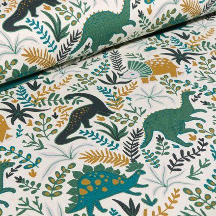 Tissu Jersey Coton Dinosaures vert sur fond Blanc