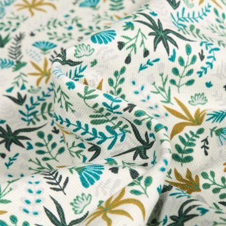 Tissu Jersey Coton Feuilles de palmier sur fond Blanc cassé