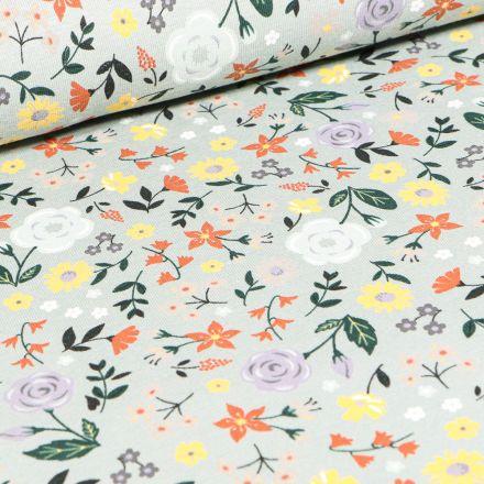 Tissu Jersey coton Roses colorés sur fond Vert menthe clair