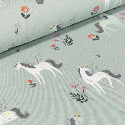 Tissu Jersey Coton Licornes et petites fleurs sur fond Vert d'eau
