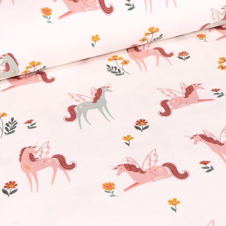 Tissu Jersey Coton Licornes et petites fleurs sur fond Blanc cassé