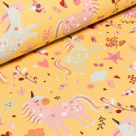 Tissu Jersey Coton Licornes étoiles et coeurs sur fond Jaune