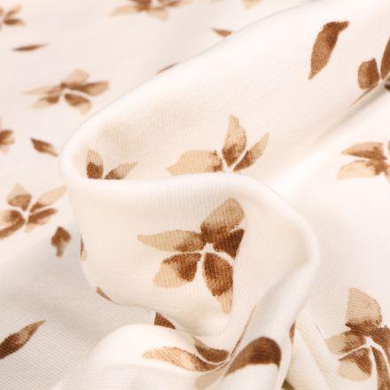 Tissu Jersey Coton Fleurs marrons sur fond Blanc cassé