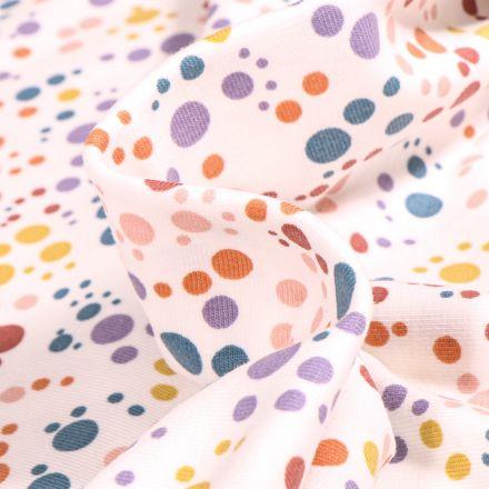 Tissu Jersey Coton Confettis pastel sur fond Blanc cassé