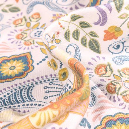 Tissu Jersey Coton Motifs orientaux sur fond Blanc