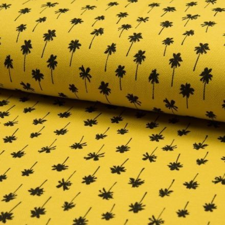 Tissu Jersey Piqué de coton spécial Polo Palmiers noirs sur fond Jaune - Par 10 cm