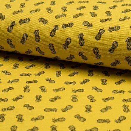 Tissu Jersey Piqué de coton spécial Polo Ananas sur fond Jaune - Par 10 cm