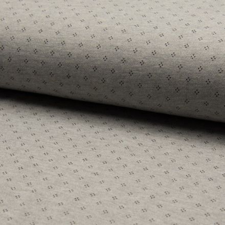 Tissu Jersey Piqué de coton spécial Polo Losange de pois Noir sur fond Gris clair - Par 10 cm