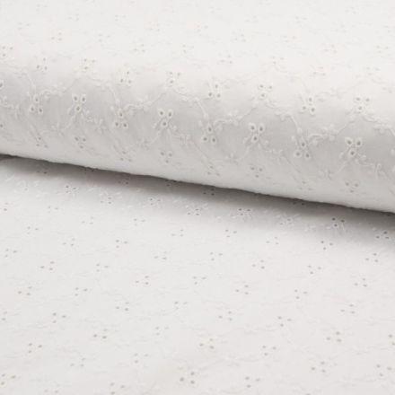 Tissu Broderie anglaise satiné n°450 sur fond Blanc - Par 10 cm