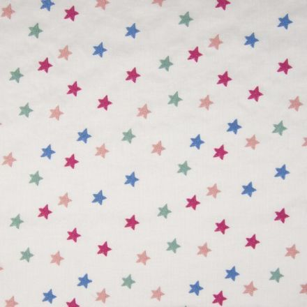 Voile de coton brodé Etoiles rose vertes et bleues sur fond Blanc - Par 10 cm