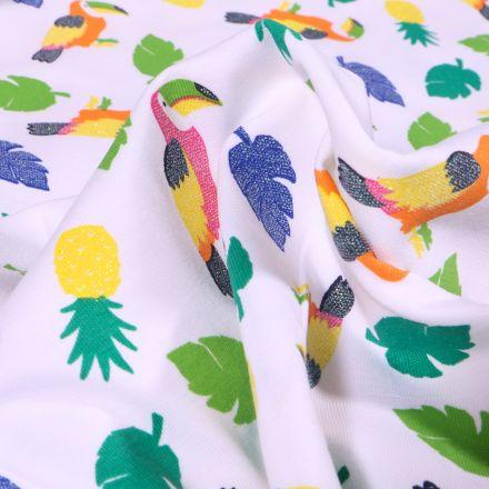 Tissu Jersey Coton Toucans pailletés, ananas et feuilles tropicales sur fond Blanc