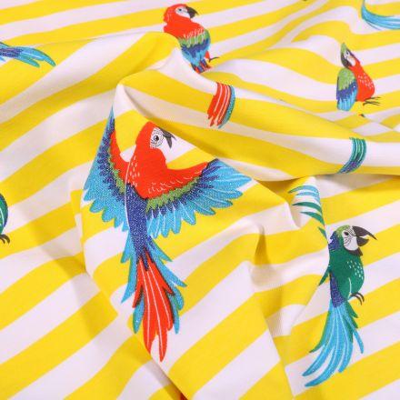 Tissu Jersey Coton Rayures larges jaunes et perroquets colorés sur fond Blanc