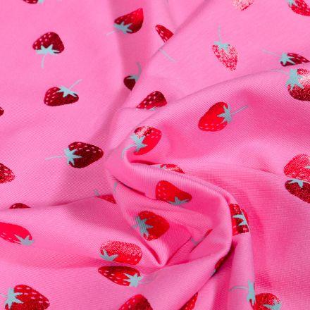 Tissu Jersey Coton Fraises métallisées sur fond Rose