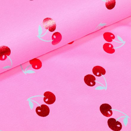 Tissu Jersey Coton Cerises métallisées sur fond Rose