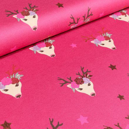 Tissu Jersey Coton Tête de cerf fleuris sur fond Rose fuchsia