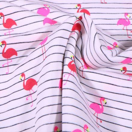 Tissu Jersey Coton rayures bleu marine et flamants rouge et rose fluo sur fond Blanc