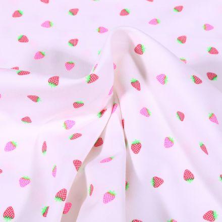 Tissu Jersey Coton Fraises fluo sur fond Blanc
