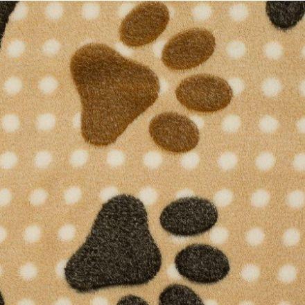 Tissu Doudou Beige clair Pattes d'ours marron - Par 10 cm