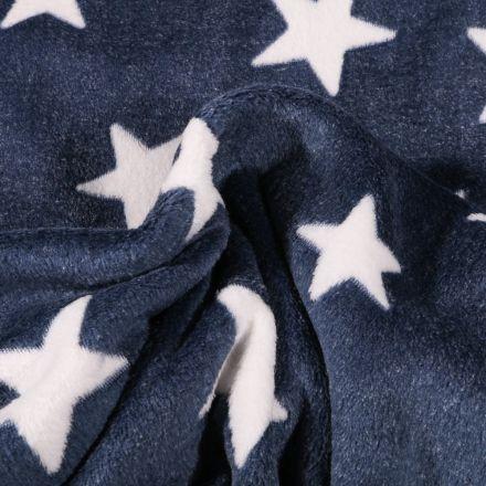 Tissu Doudou Etoiles blanches sur fond Bleu marine - Par 10 cm