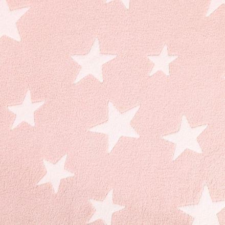 Tissu Doudou Etoiles Blanches sur fond Rose clair - Par 10 cm
