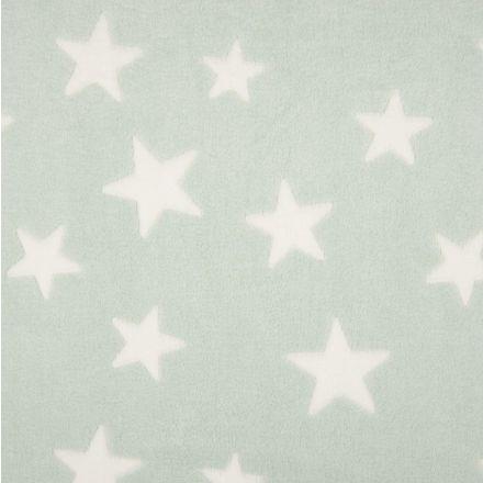 Tissu Doudou Etoiles Blanc sur fond Menthe - Par 10 cm