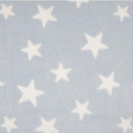 Tissu Doudou Etoiles Blanc sur fond Bleu clair - Par 10 cm