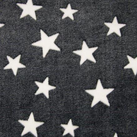 Tissu Doudou Etoiles Blanc sur fond Noir - Par 10 cm