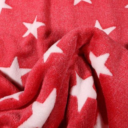 Tissu Doudou Etoiles blanches sur fond Rouge - Par 10 cm