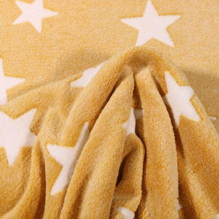 Tissu Doudou Etoiles blanches sur fond Jaune - Par 10 cm