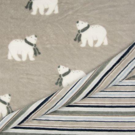 Tissu Doudou Double Face Ours Envers Rayures Blanc, Gris, Bleu sur Fond Taupe - Par 10 cm