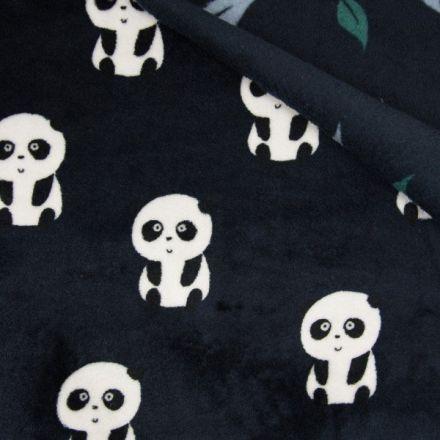 Tissu  Doudou  double face  Panda envers feuilles vertes et blanches sur fond Bleu marine - Par 10 cm