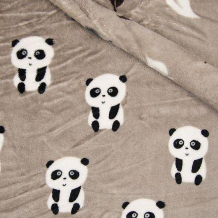 Tissu  Doudou  double face  Panda envers feuilles grises et marron sur fond Taupe - Par 10 cm