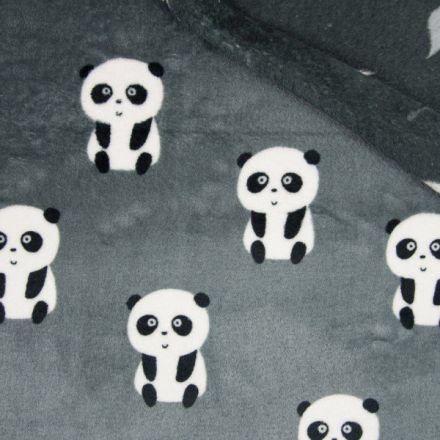 Tissu  Doudou  double face  Panda envers feuilles grises et blanches sur fond Gris - Par 10 cm