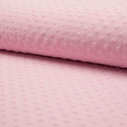 Tissu Jersey Coton Pois velours en relief sur fond Rose - Par 10 cm
