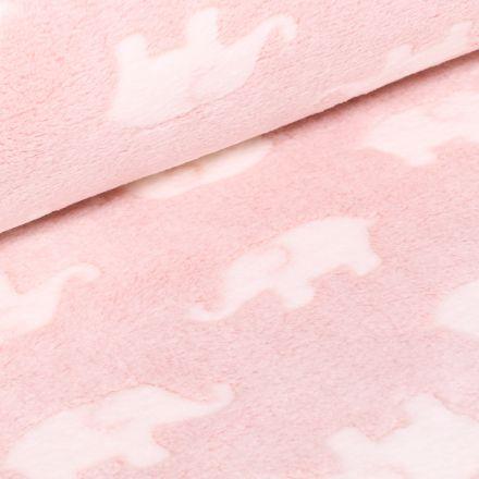 Tissu Doudou Baby éléphants sur fond Rose pâle