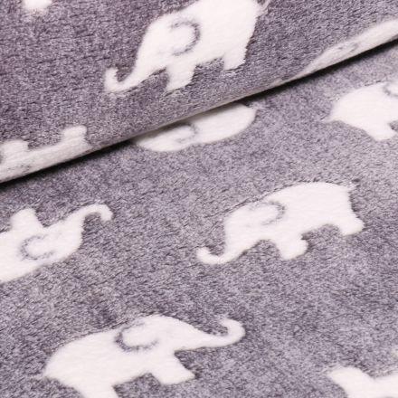 Tissu Doudou Baby éléphants sur fond Gris galet