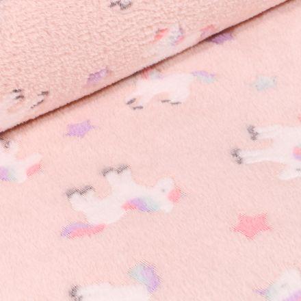 Tissu Doudou Baby animaux sur fond Rose pâle