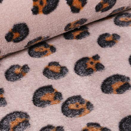 Tissu Doudou Tâches léopard sur fond Beige