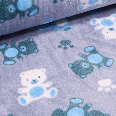 Tissu Doudou Nounours sur fond Bleu ciel