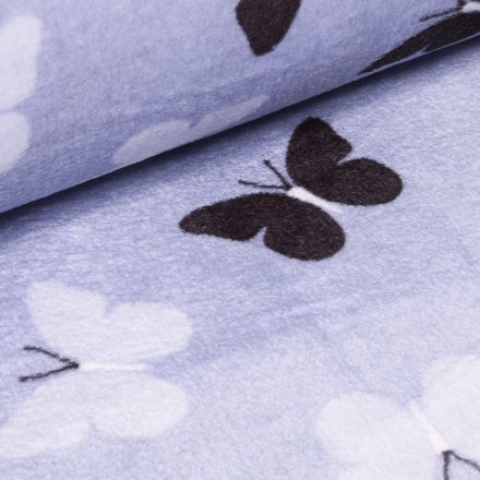 Tissu Doudou Papillons sur fond Bleu ciel