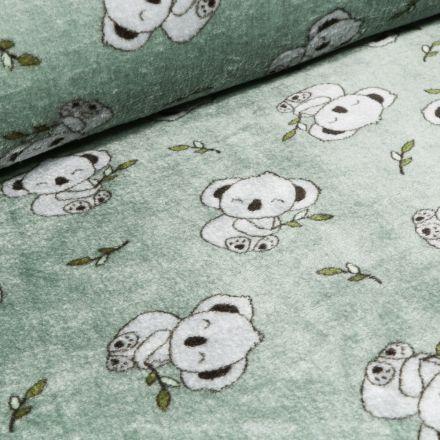 Tissu Doudou Koalas sur fond Vert menthe clair