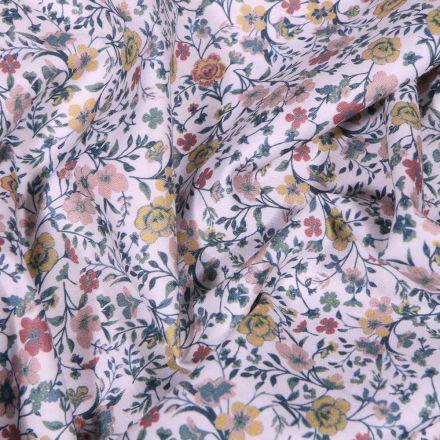 Tissu Popeline de coton Sweet Flower Louison sur fond Blanc - Par 10 cm