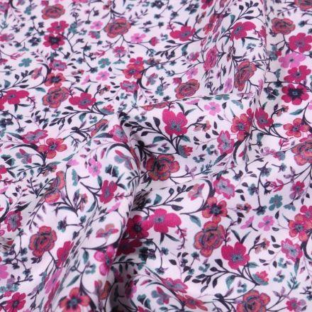 Tissu Popeline de coton Sweet Flower Rosa sur fond Blanc - Par 10 cm
