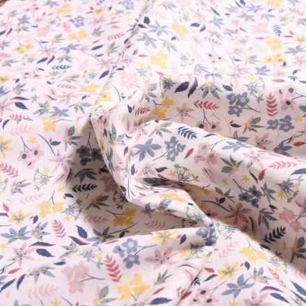 Tissu Popeline de coton Sweet Flower Marie sur fond Blanc - Par 10 cm