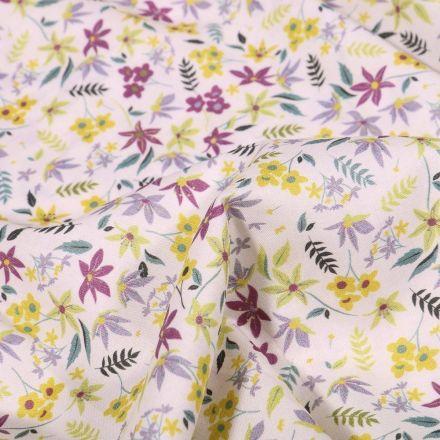 Tissu Popeline de coton Sweet Flower Léa sur fond Blanc - Par 10 cm