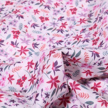 Tissu Popeline de coton Sweet Flower Juliette sur fond Blanc - Par 10 cm