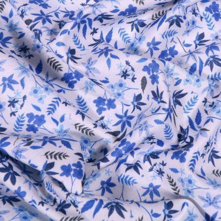 Tissu Popeline de coton Sweet Flower Stella sur fond Blanc - Par 10 cm