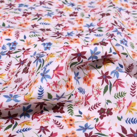 Tissu Popeline de coton Sweet Flower Marilou sur fond Blanc - Par 10 cm